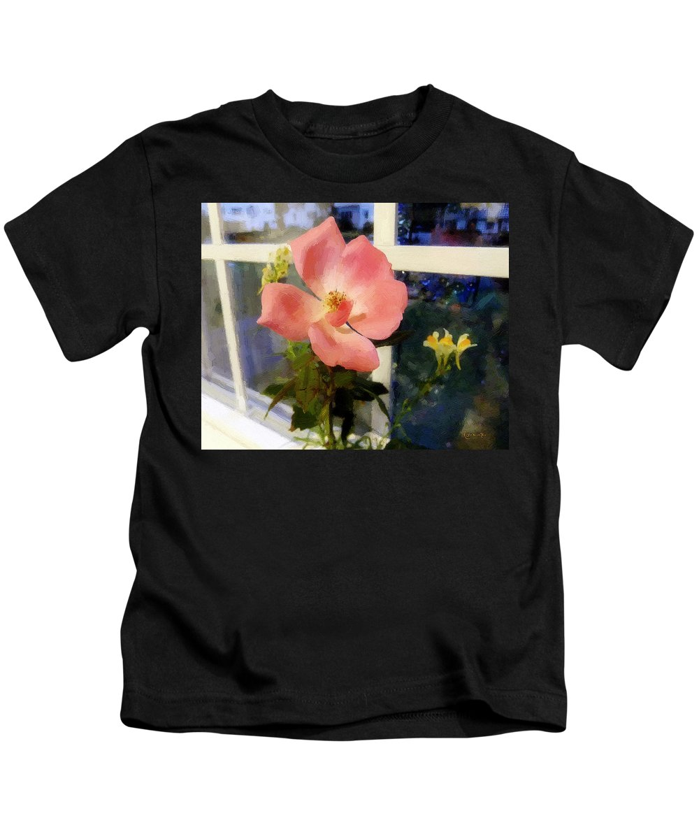 Rose Kids T-Shirt featuring the painting The Last Rose Of Summer by RC DeWinter
