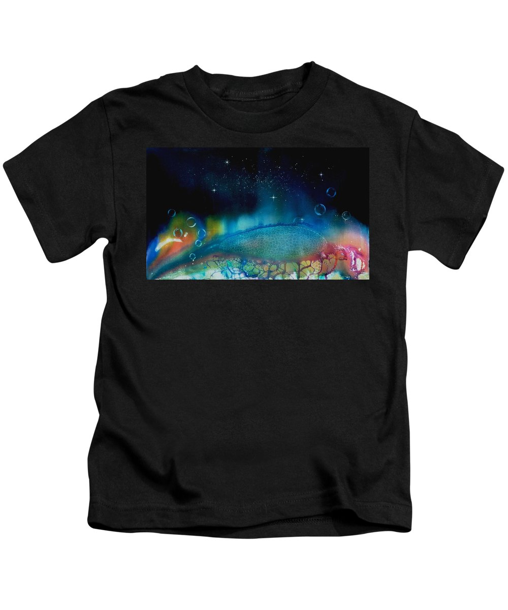 Beach House Kids T-Shirt featuring the painting The Last Turtle From The Sea Of Cassiopeia by Lee Pantas