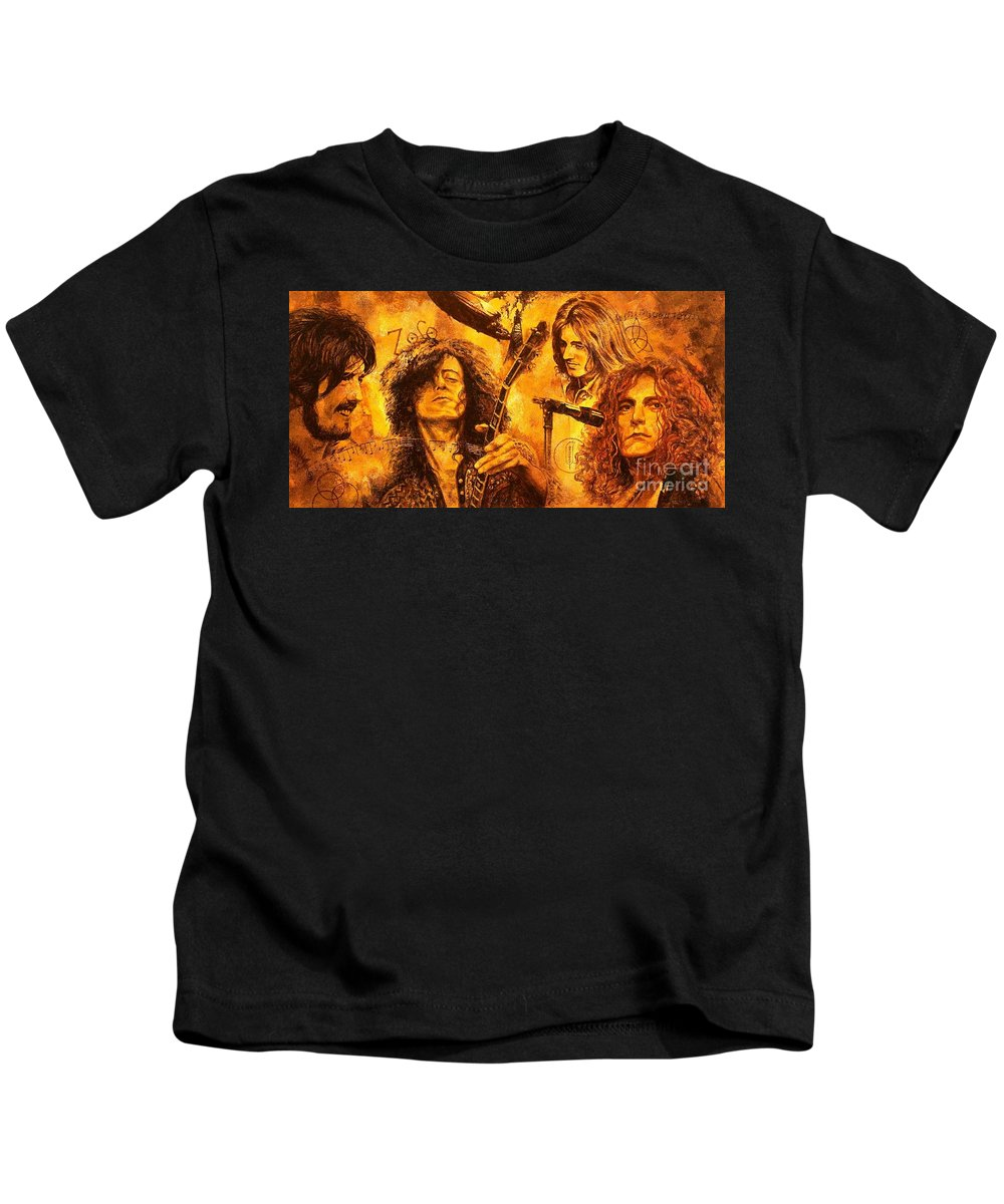Led Zeppelin Kids T-Shirt featuring the painting The Legend by Igor Postash