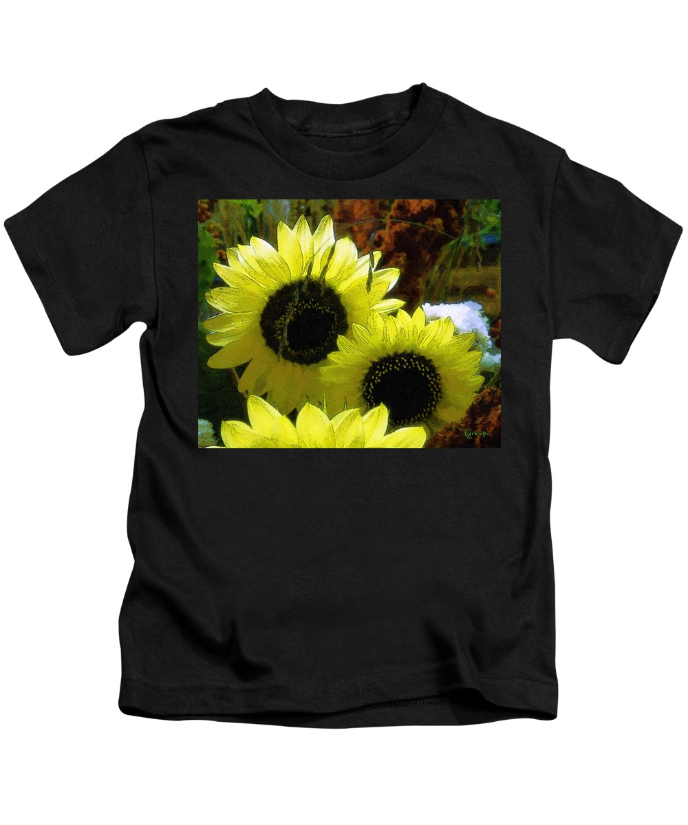 Sunflowers Kids T-Shirt featuring the digital art The Lemon Sisters by RC DeWinter
