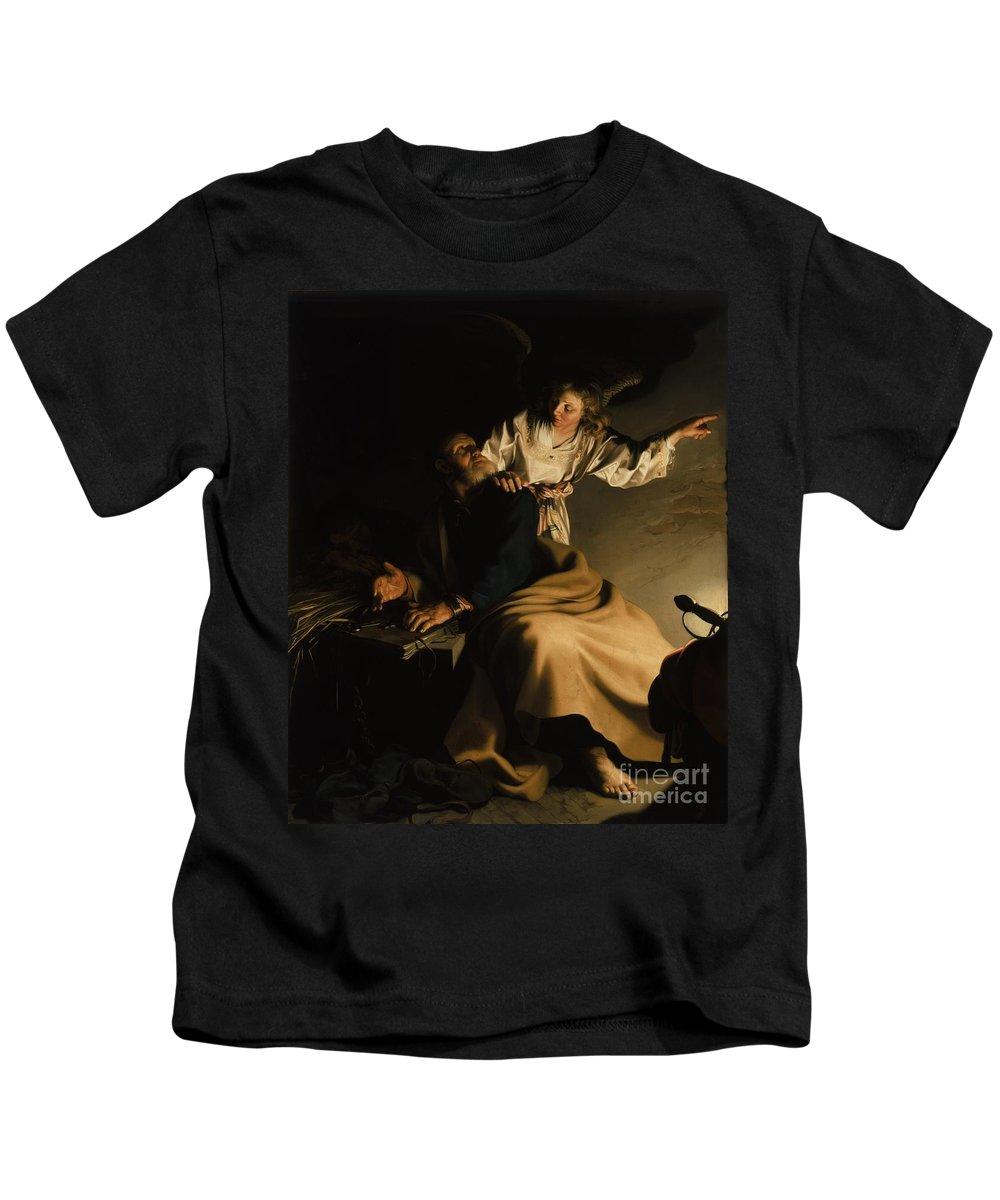 The Liberation Of St. Peter Kids T-Shirt featuring the painting The Liberation Of Saint Peter by Abraham Bloemaert