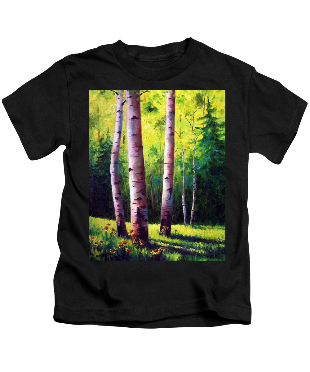 Aspen Kids T-Shirt featuring the painting The Light Of Spring by David G Paul