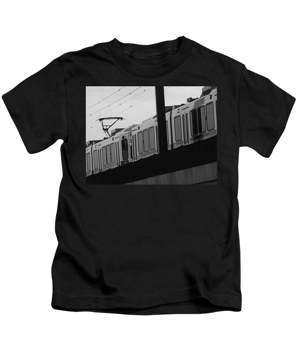 Abstract Kids T-Shirt featuring the photograph The Light Rail by Lenore Senior