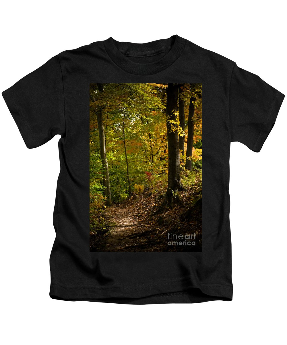 Forest Kids T-Shirt featuring the photograph The Light Shows The Way by Tony Bazidlo