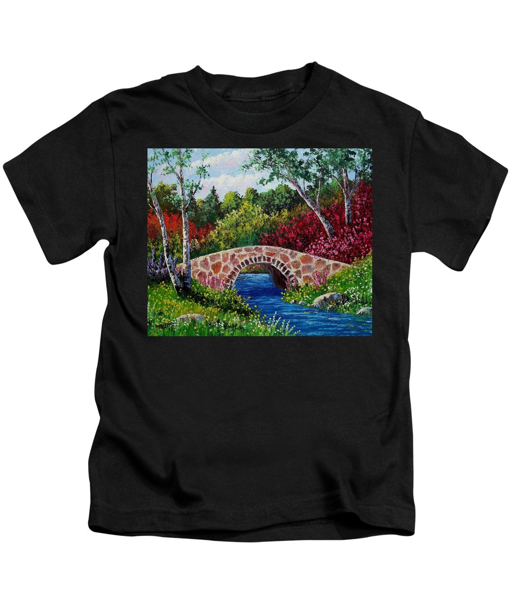 Landscape Kids T-Shirt featuring the painting The Little Stone Bridge by David G Paul