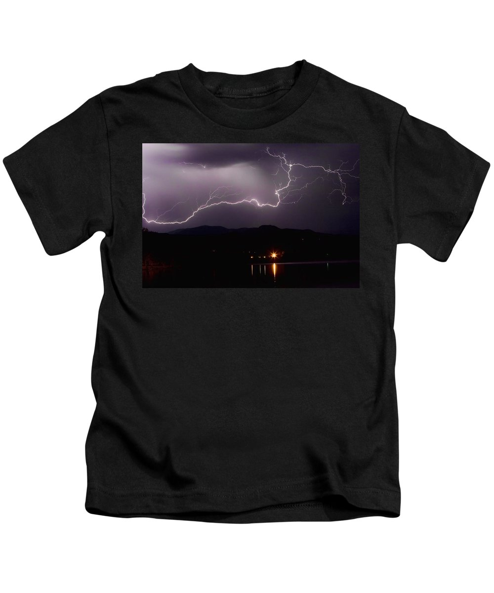 Lightning Photography Kids T-Shirt featuring the photograph The Long Strike by James BO Insogna