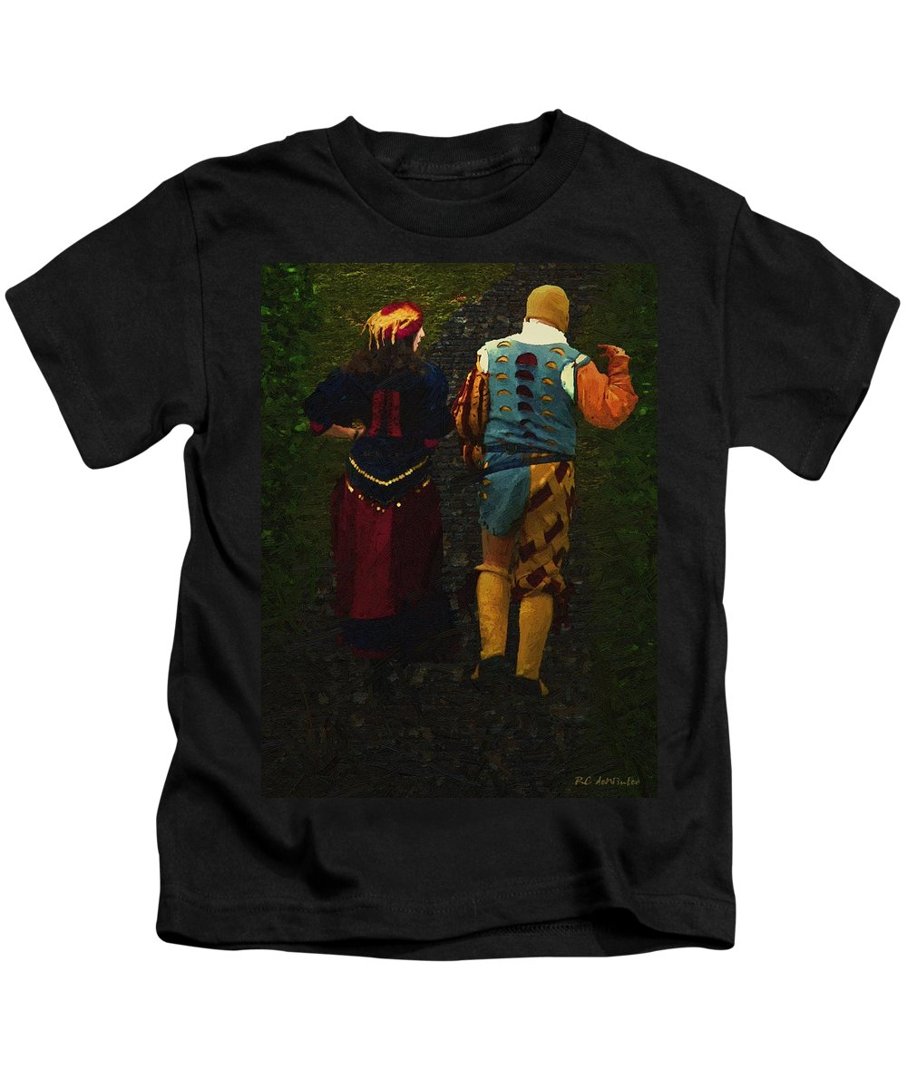 Cobblestones Kids T-Shirt featuring the painting The Long Walk Home by RC DeWinter