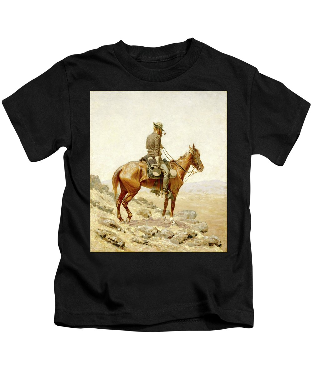 Lookout Kids T-Shirt featuring the painting The Lookout by Frederic Sackrider Remington