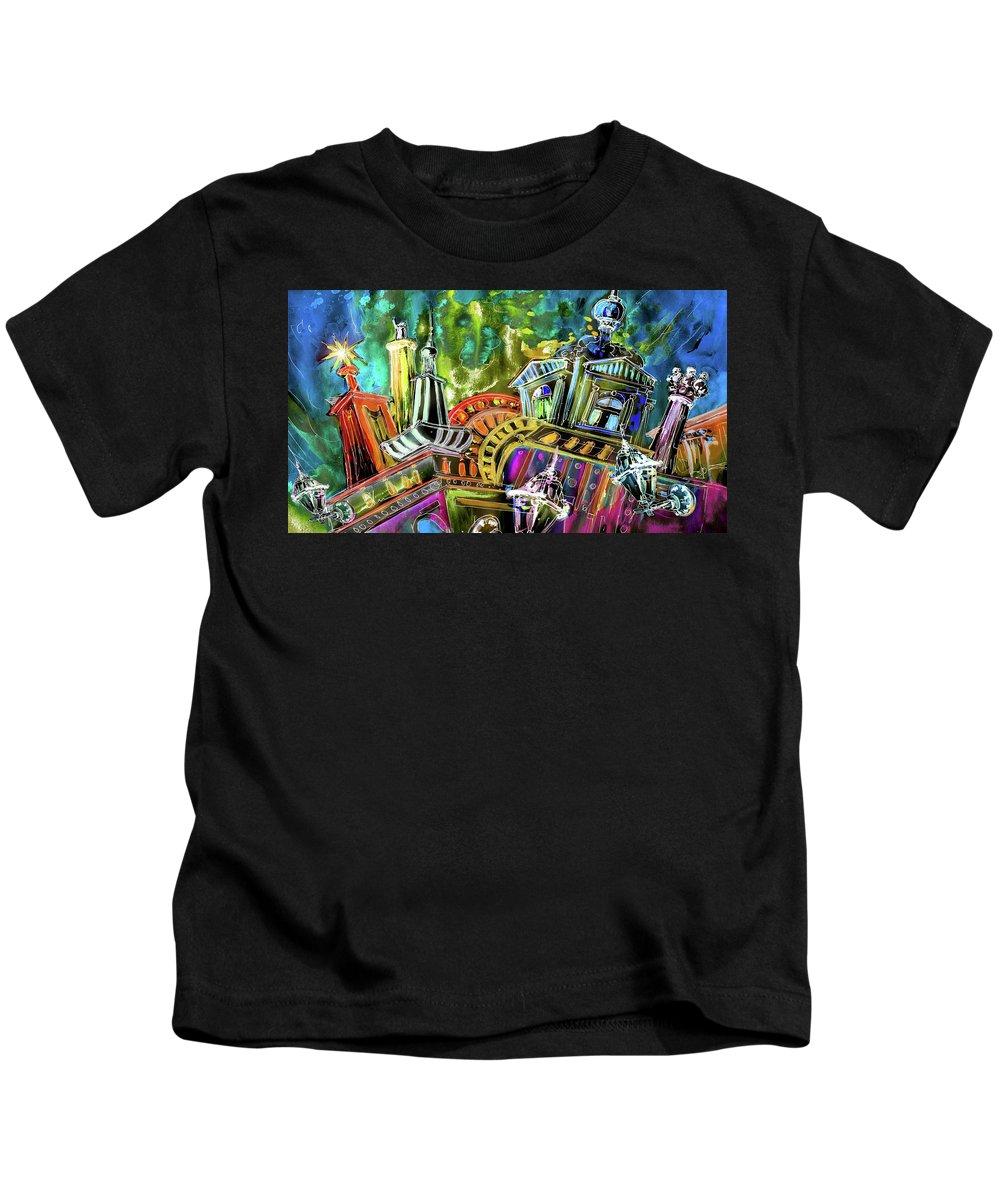 Czech Republic Kids T-Shirt featuring the painting The Magical Rooftops Of Prague 02 by Miki De Goodaboom