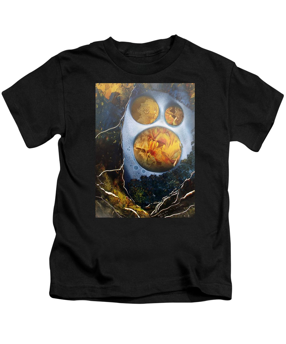 Moonman Kids T-Shirt featuring the painting The Man In The Moon by Arlene Wright-Correll