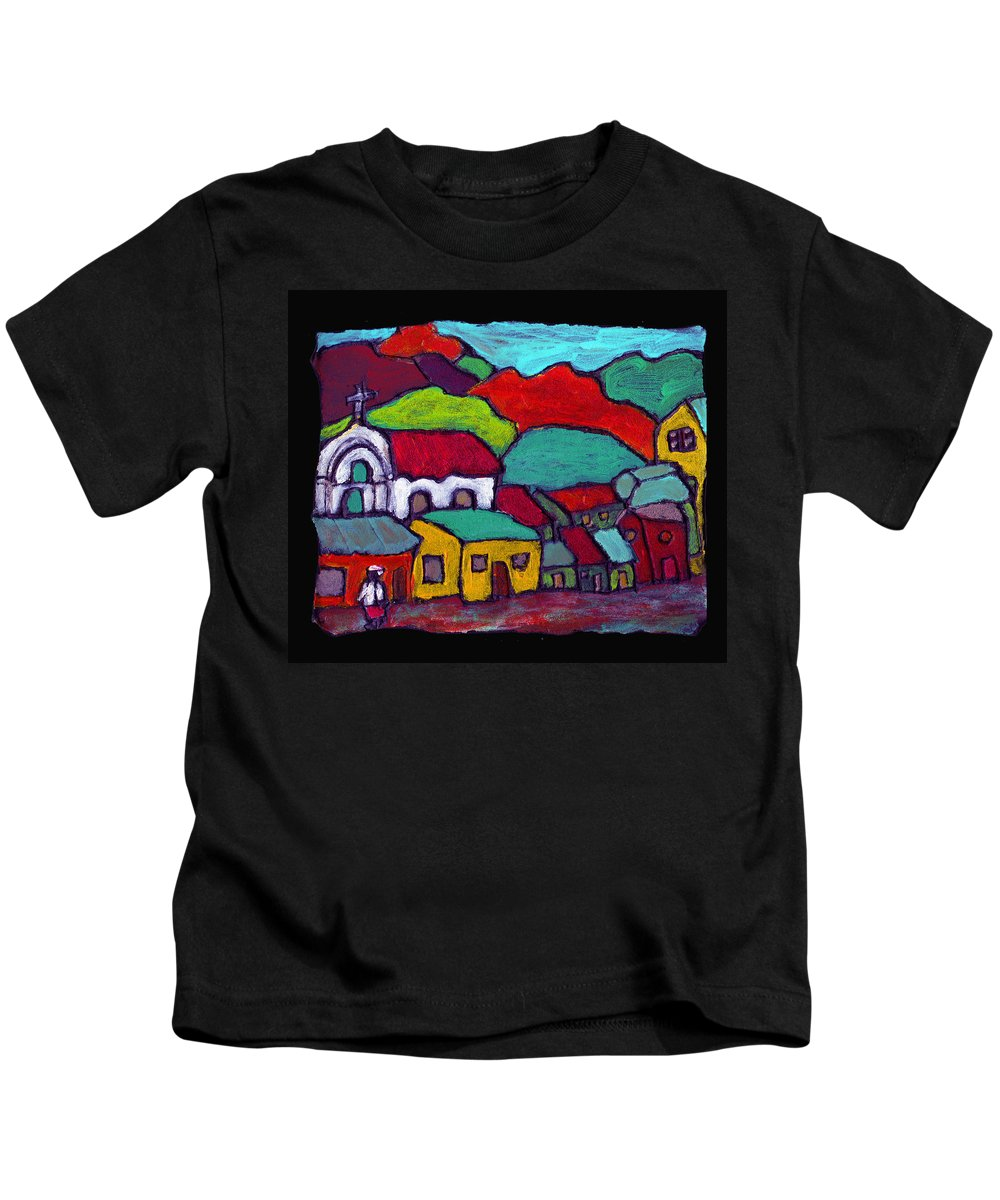 Village Kids T-Shirt featuring the painting The Mission by Wayne Potrafka