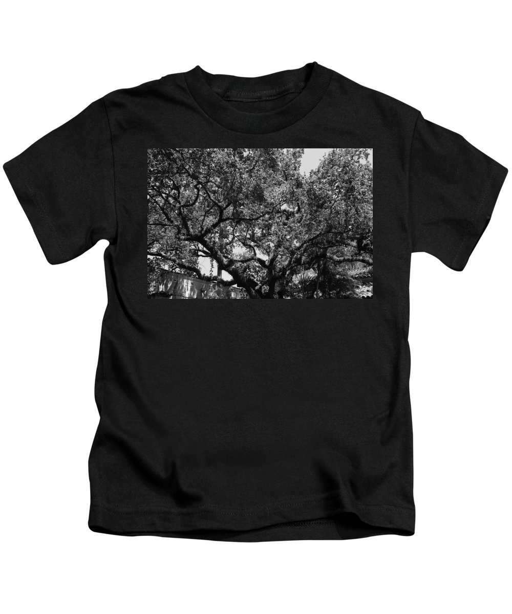 Black And White Kids T-Shirt featuring the photograph The Monastery Tree by Rob Hans