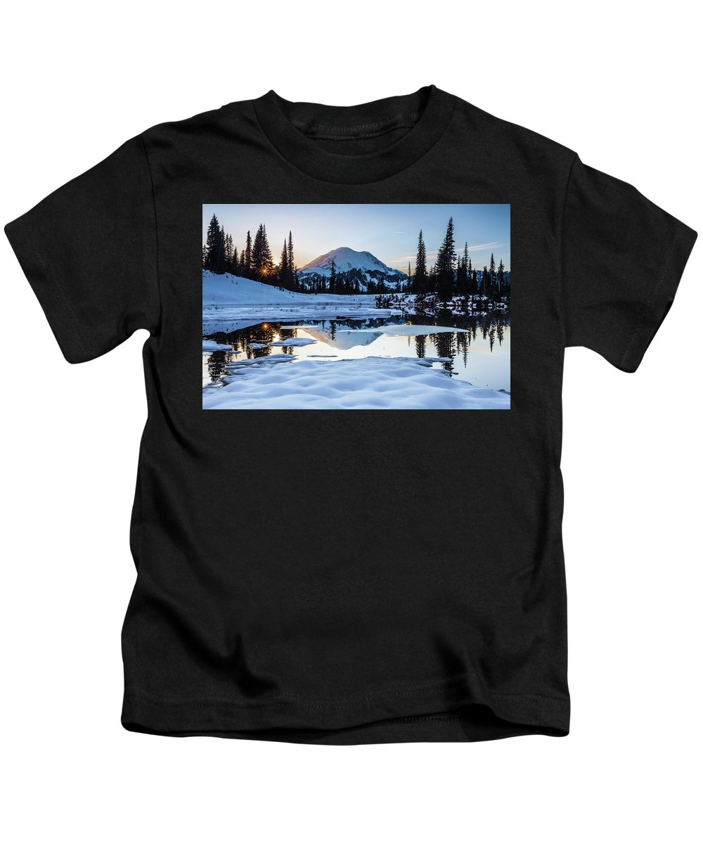 National Parks Kids T-Shirt featuring the photograph The Mountain Is Calling by Larry Waldon