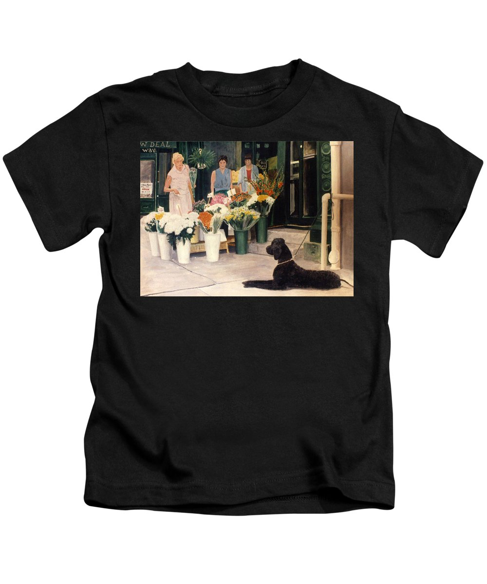 Mums Kids T-Shirt featuring the painting The New Deal by Steve Karol