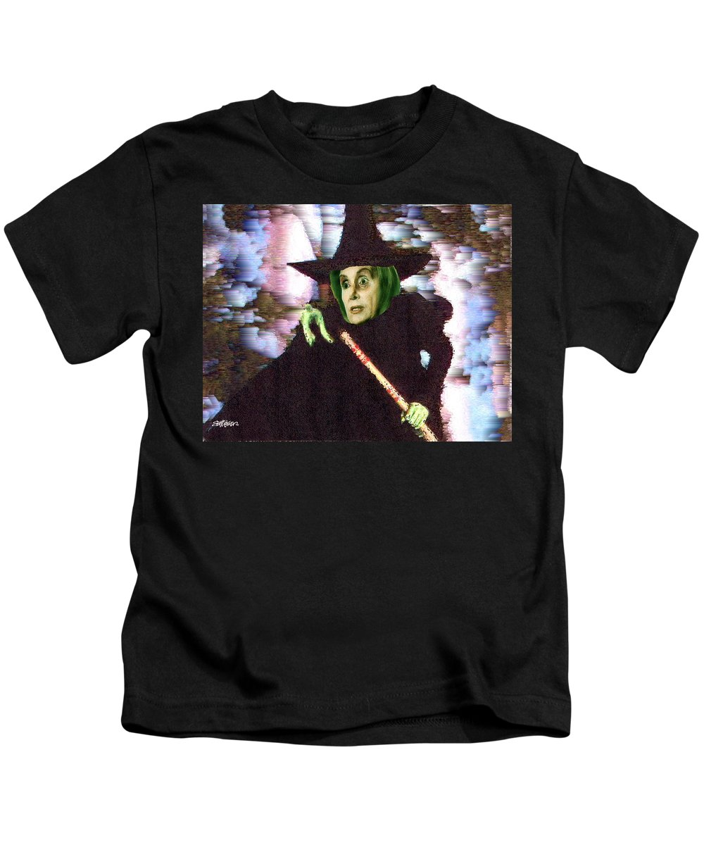 Wizard Of Oz Kids T-Shirt featuring the digital art The New Wicked Witch of the West by Seth Weaver
