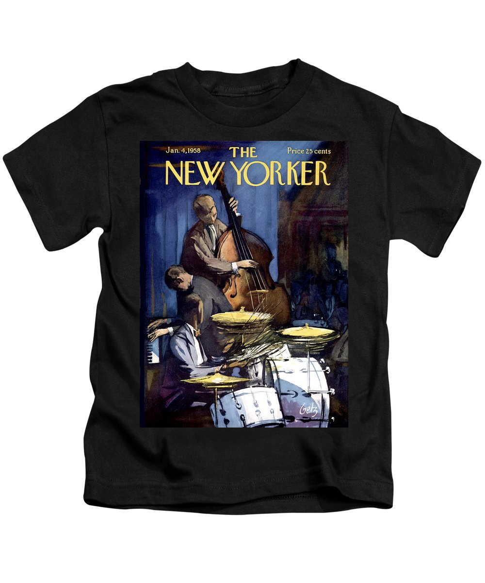 Concert Kids T-Shirt featuring the painting New Yorker January 4th, 1958 by Arthur Getz