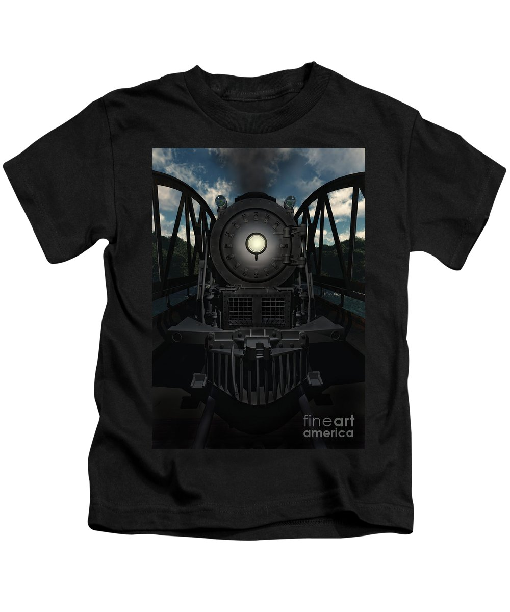 Trains Kids T-Shirt featuring the digital art The Old Iron Bridge by Richard Rizzo