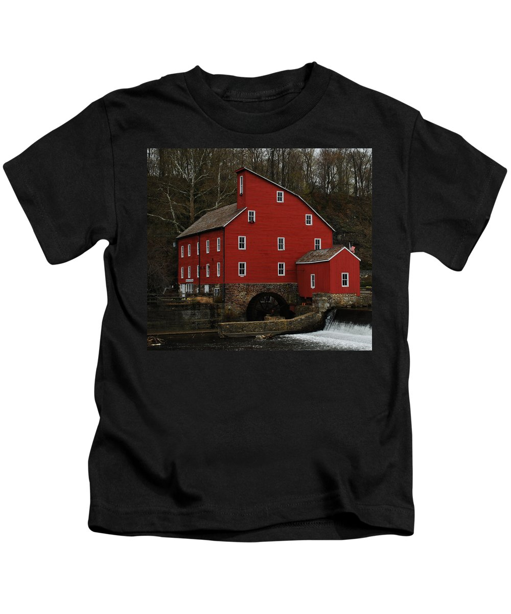 Water Mill Kids T-Shirt featuring the photograph The Old Mill In Clinton Nj by Lori Tambakis