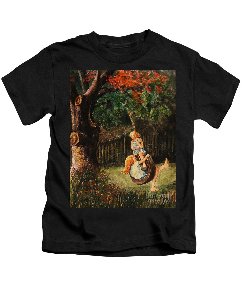 Girls Swinging Kids T-Shirt featuring the painting The Old Tire Swing by Marilyn Smith