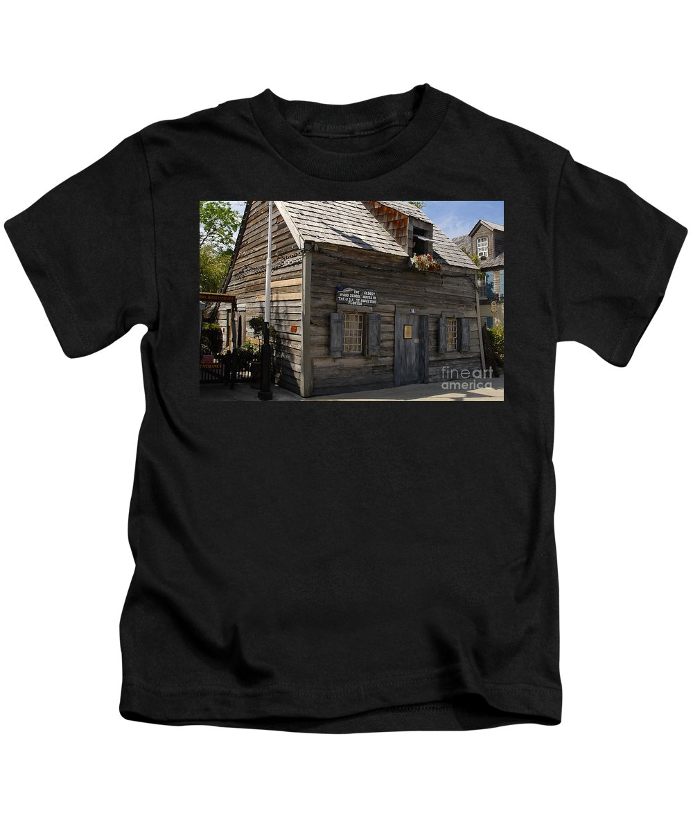 Saint Augustine Florida Kids T-Shirt featuring the photograph The Oldest School House by David Lee Thompson