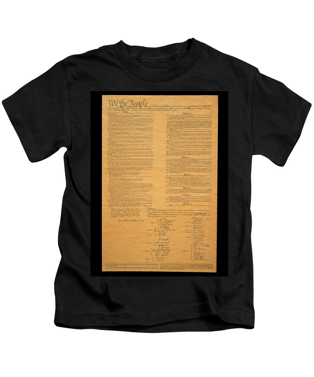 Photography Kids T-Shirt featuring the photograph The Original United States Constitution by Panoramic Images