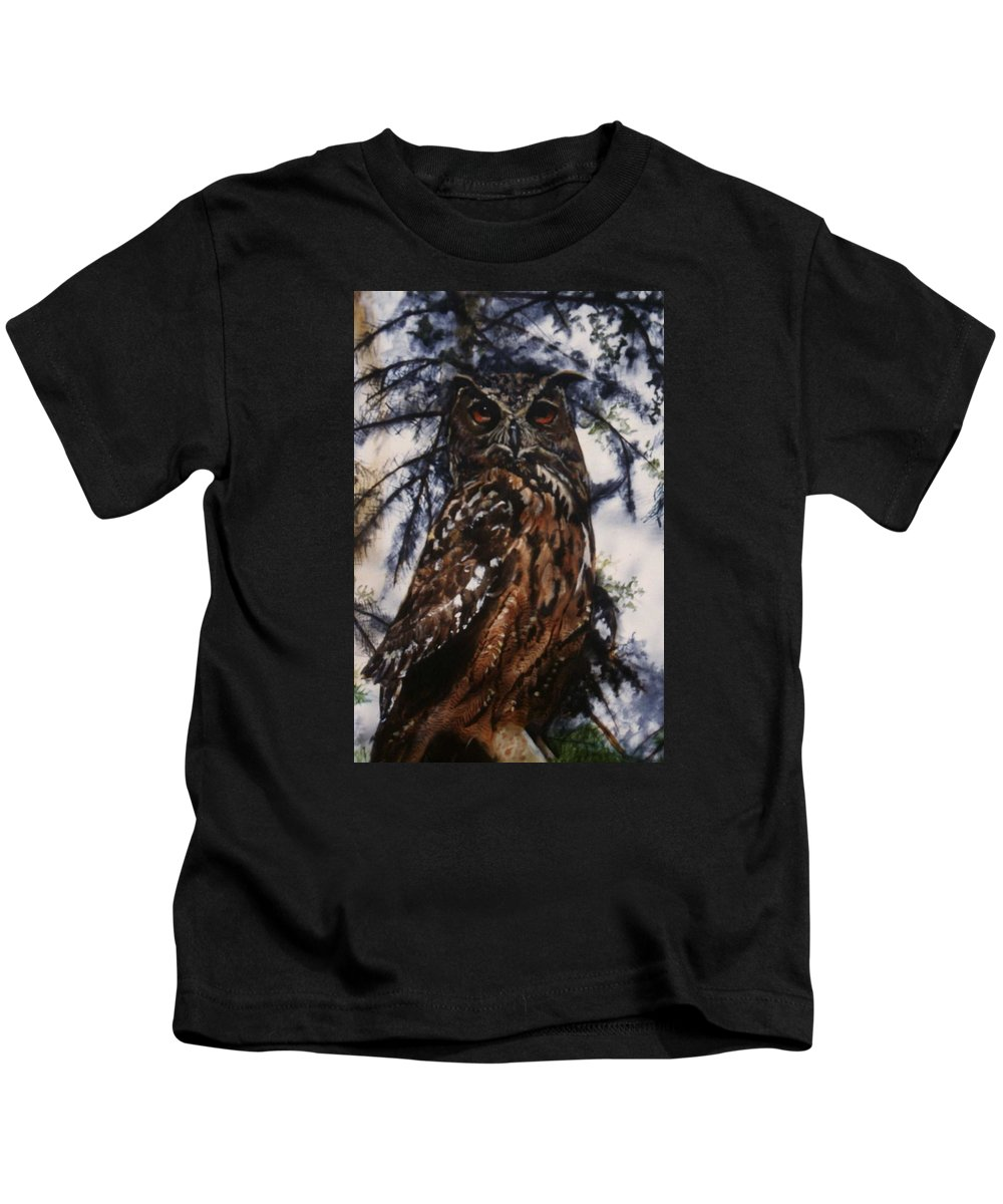 Owl Bird Kids T-Shirt featuring the painting The Owl by Janet Lavida