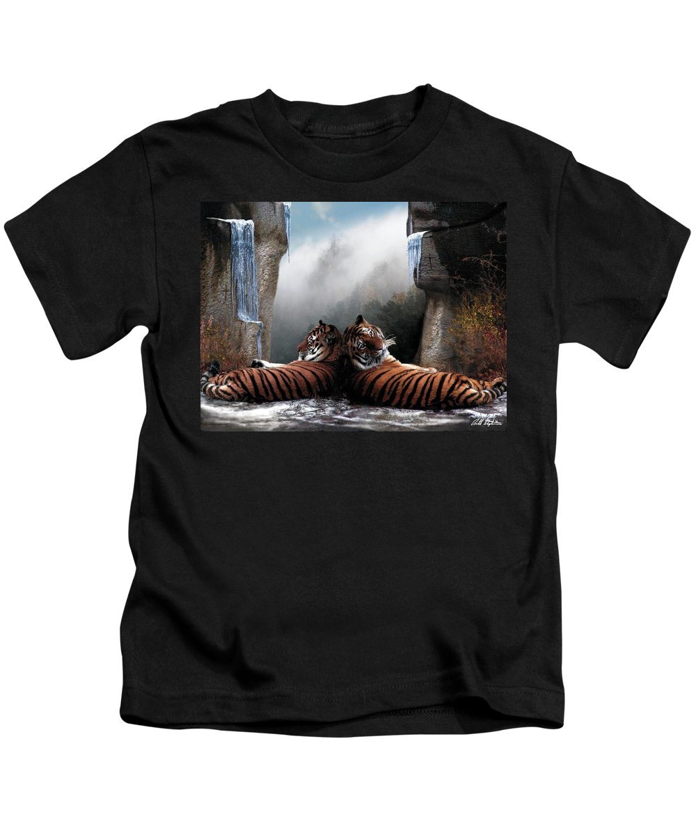 Tigers Kids T-Shirt featuring the digital art The Pass by Bill Stephens