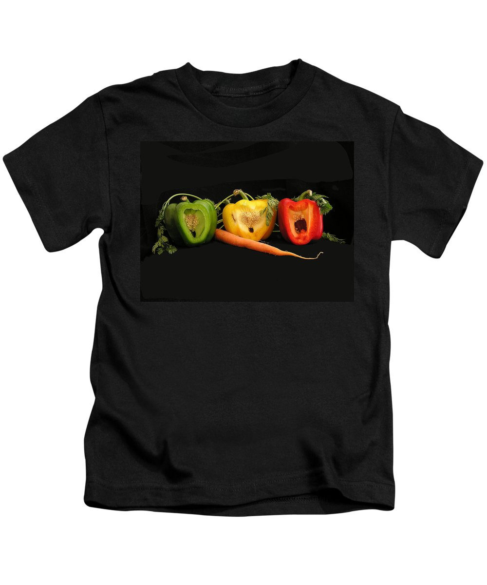Pepper Kids T-Shirt featuring the photograph The Pepper Trio by Carol Milisen