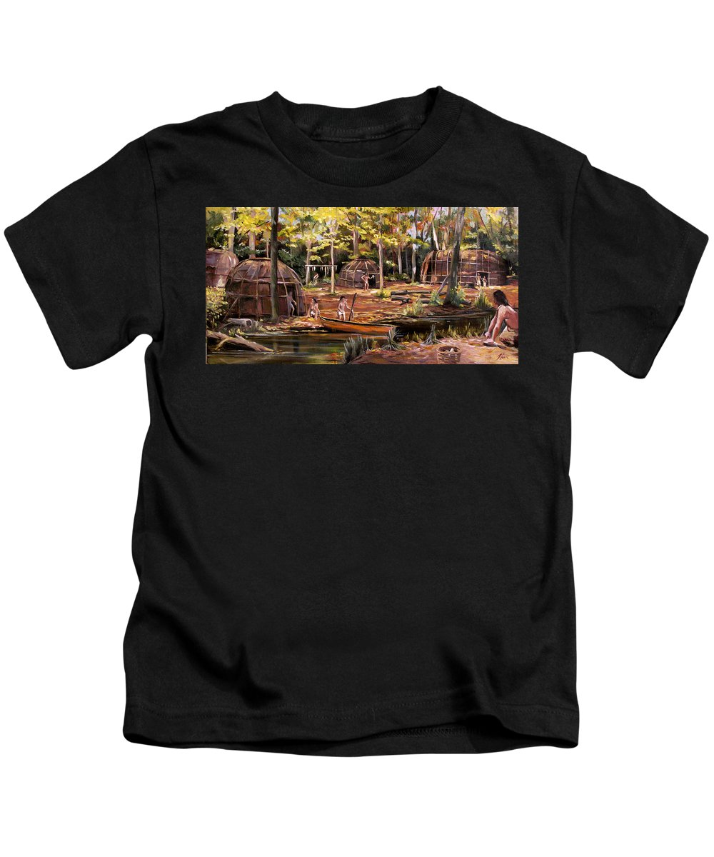 Institute Of American Indian Kids T-Shirt featuring the painting The Pequots by Nancy Griswold