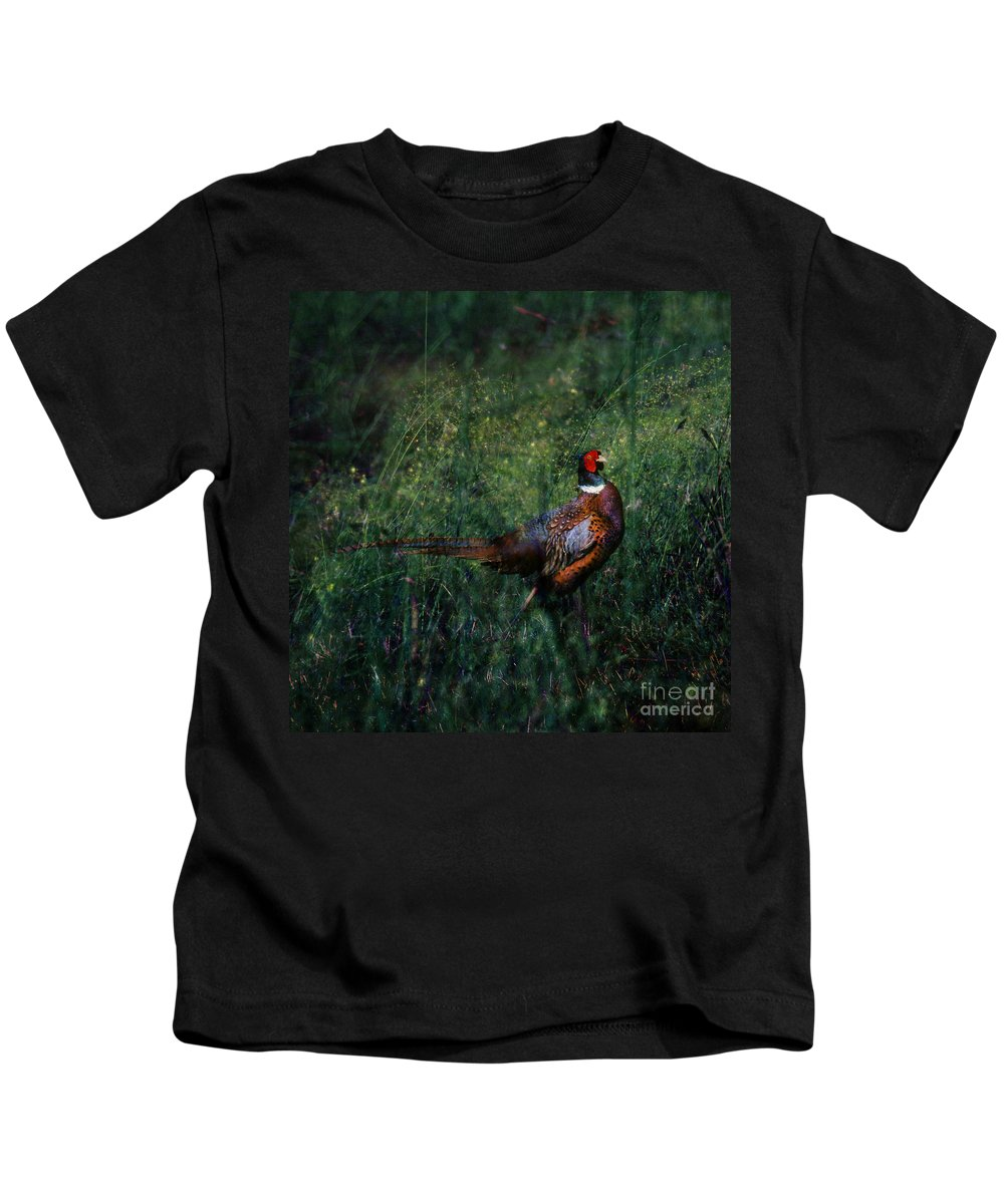 Pheasant Kids T-Shirt featuring the photograph The Pheasant In The Autumn Colors by Angel Ciesniarska
