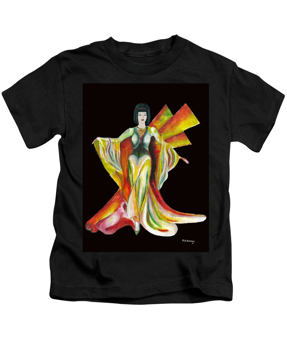 Dresses Kids T-Shirt featuring the painting The Phoenix 2 by Tom Conway
