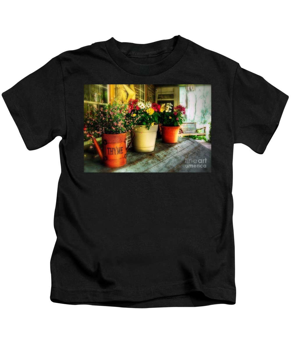 Porch Kids T-Shirt featuring the photograph The Porch Swing by Lois Bryan