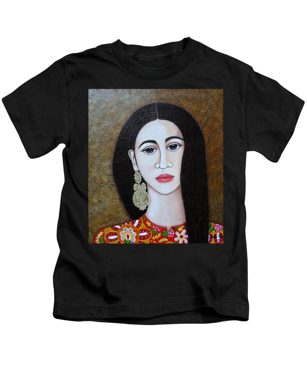 Woman Kids T-Shirt featuring the painting The Portuguese Earring 2 by Madalena Lobao-Tello