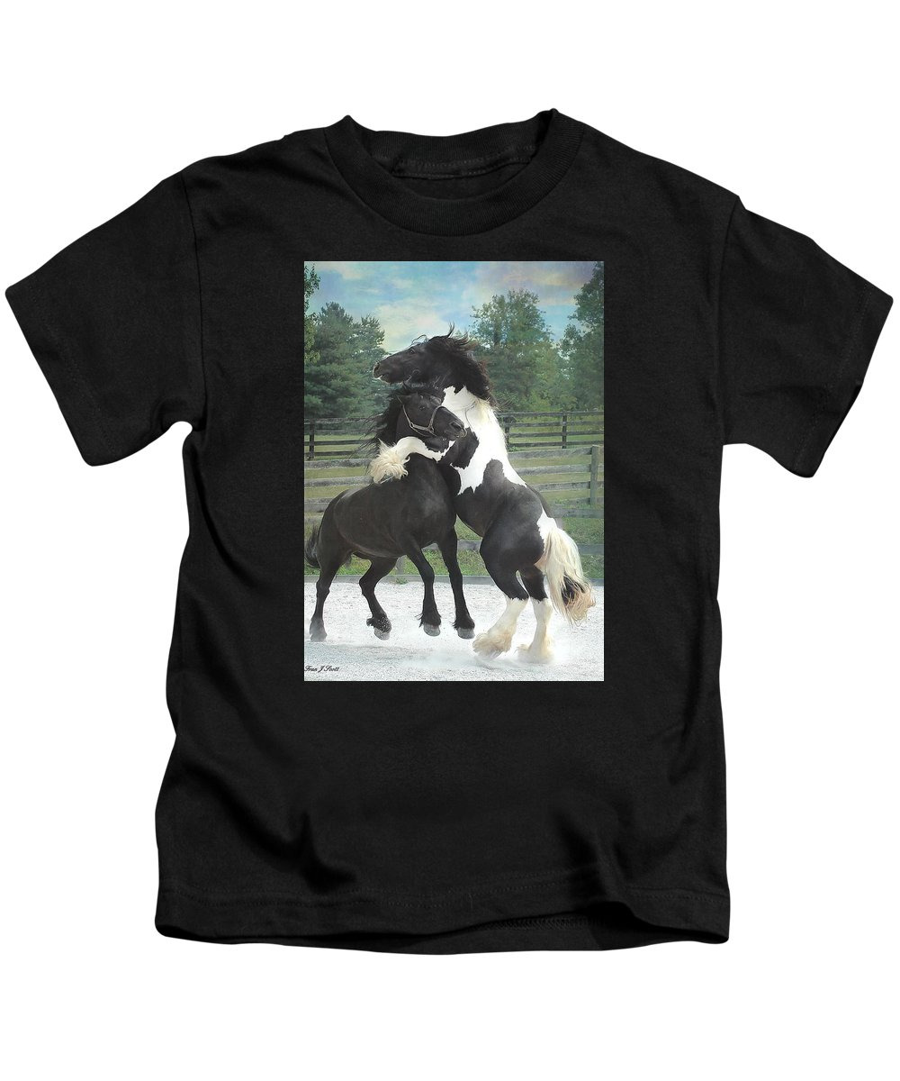 Horses Kids T-Shirt featuring the photograph The Posturing Game by Fran J Scott