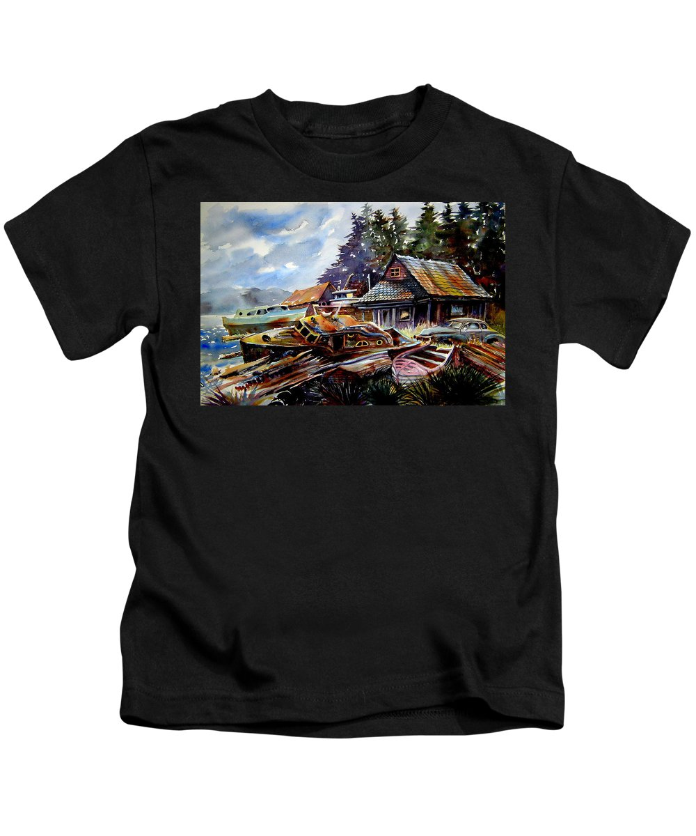 Boats Kids T-Shirt featuring the painting The Preserve of Captain Flood by Ron Morrison