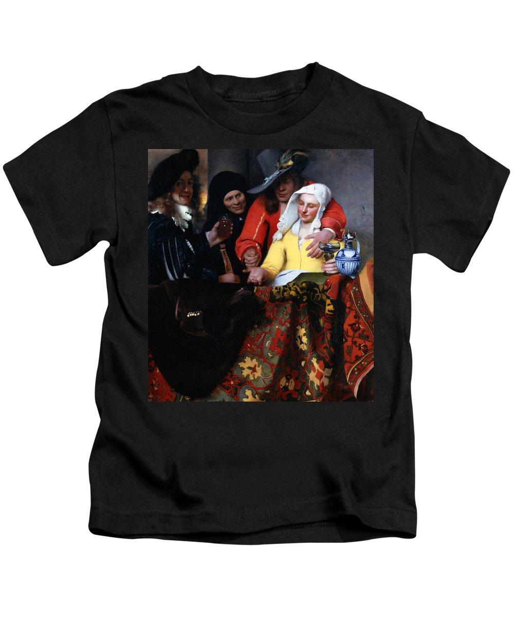 Jan Vermeer Kids T-Shirt featuring the painting The Procuress by Jan Vermeer