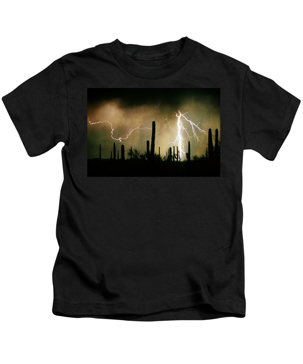 Lightning Kids T-Shirt featuring the photograph The Quiet Southwest Desert Lightning Storm by James BO Insogna
