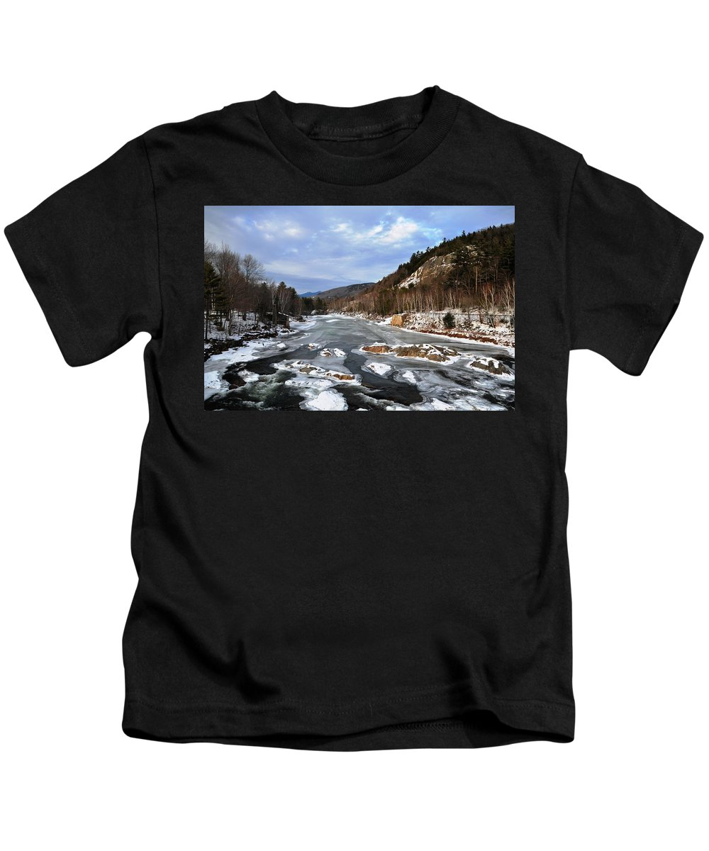 Back Roads Of New Hampshire January 28 Kids T-Shirt featuring the photograph The Rapids In Winter by Bill Driscoll