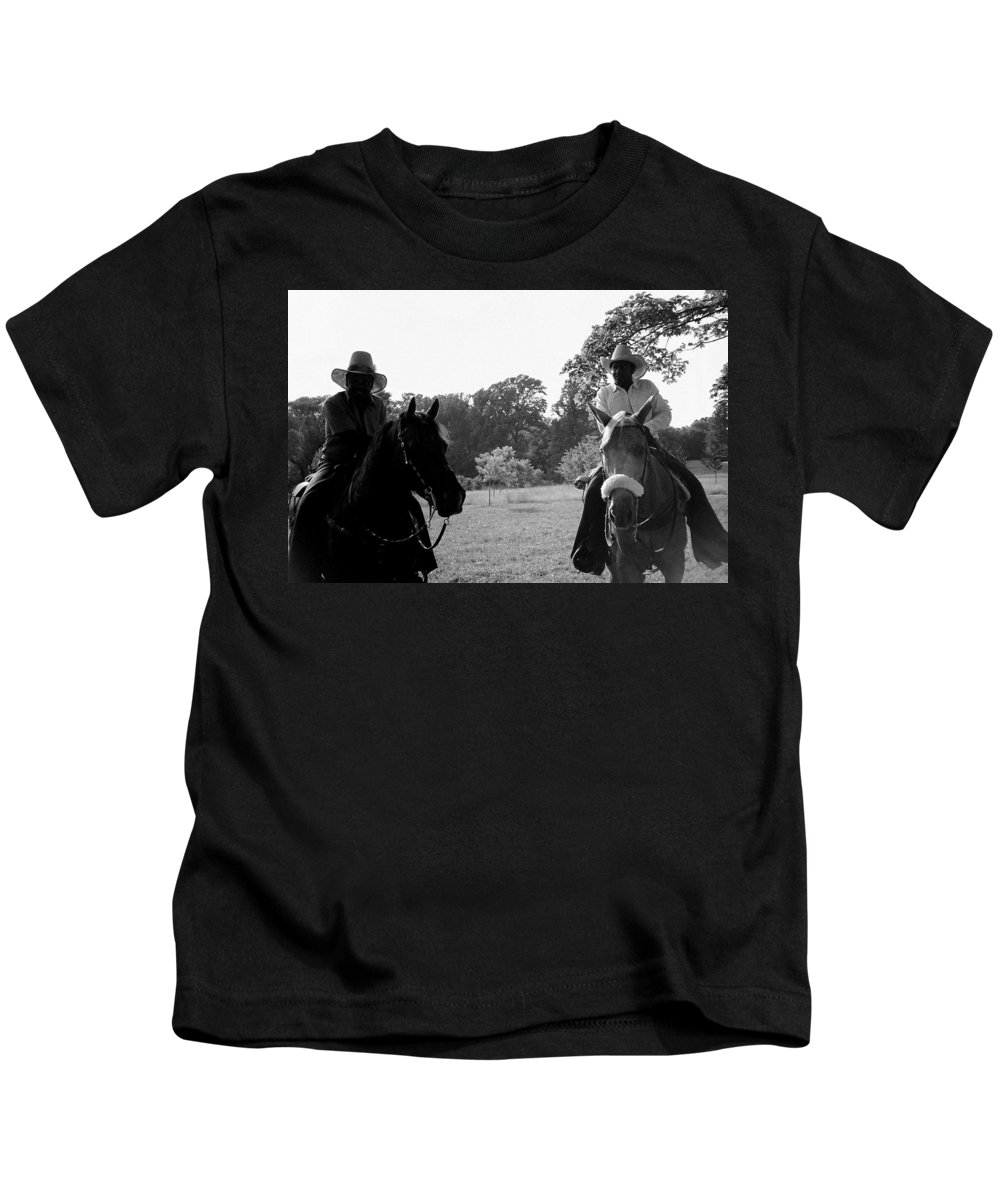 Men Kids T-Shirt featuring the photograph The Real Cowboys by Deborah Crew-Johnson
