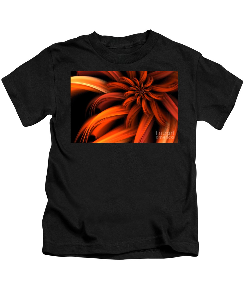 Dahlia Kids T-Shirt featuring the digital art The Red Dahlia by John Edwards