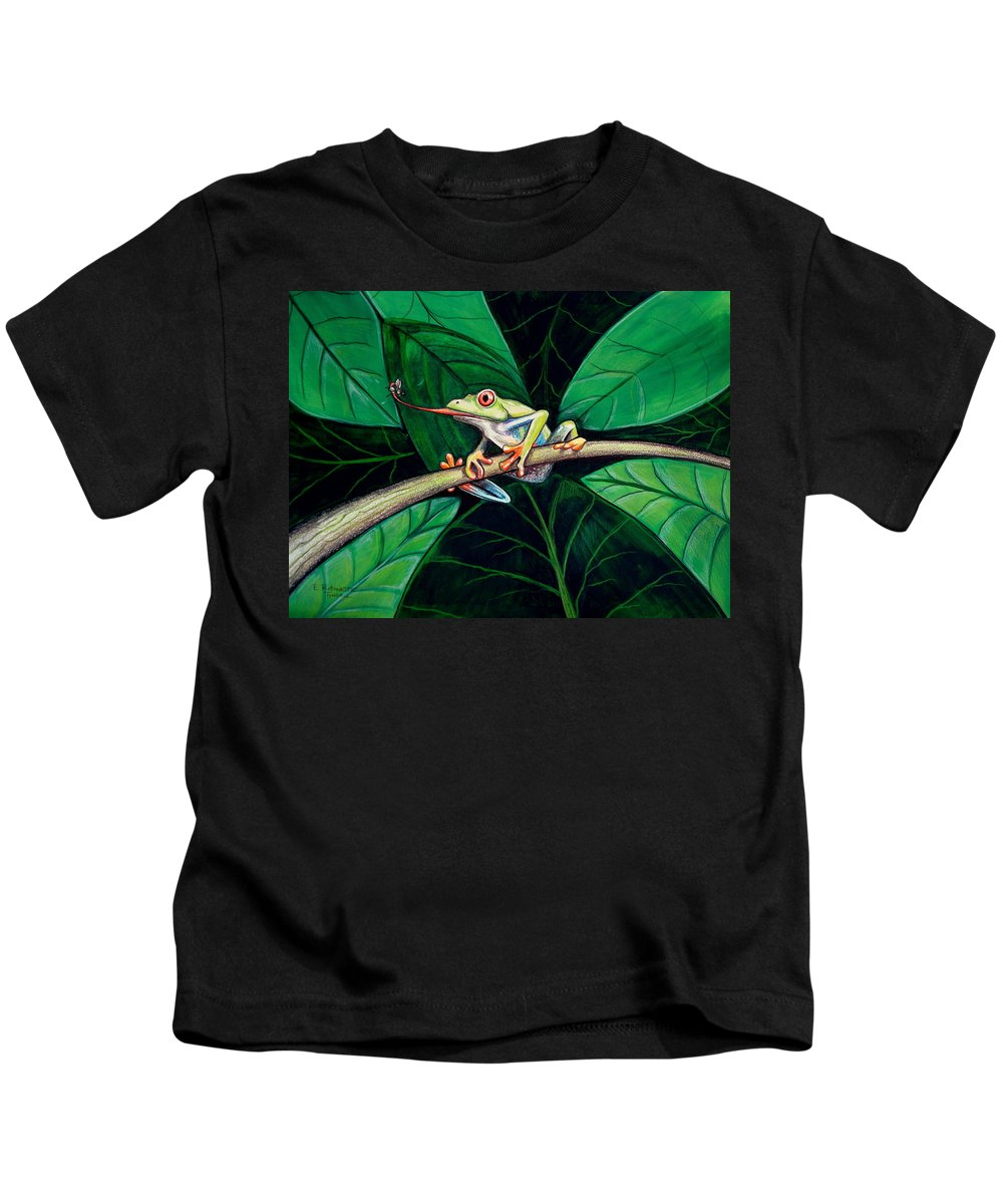 Frog Kids T-Shirt featuring the painting The Red Eyed Tree Frog by Elizabeth Robinette Tyndall