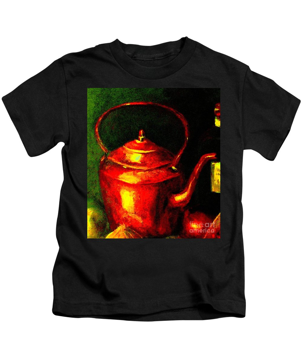 Kettle Kids T-Shirt featuring the painting The Red Kettle by Hazel Holland
