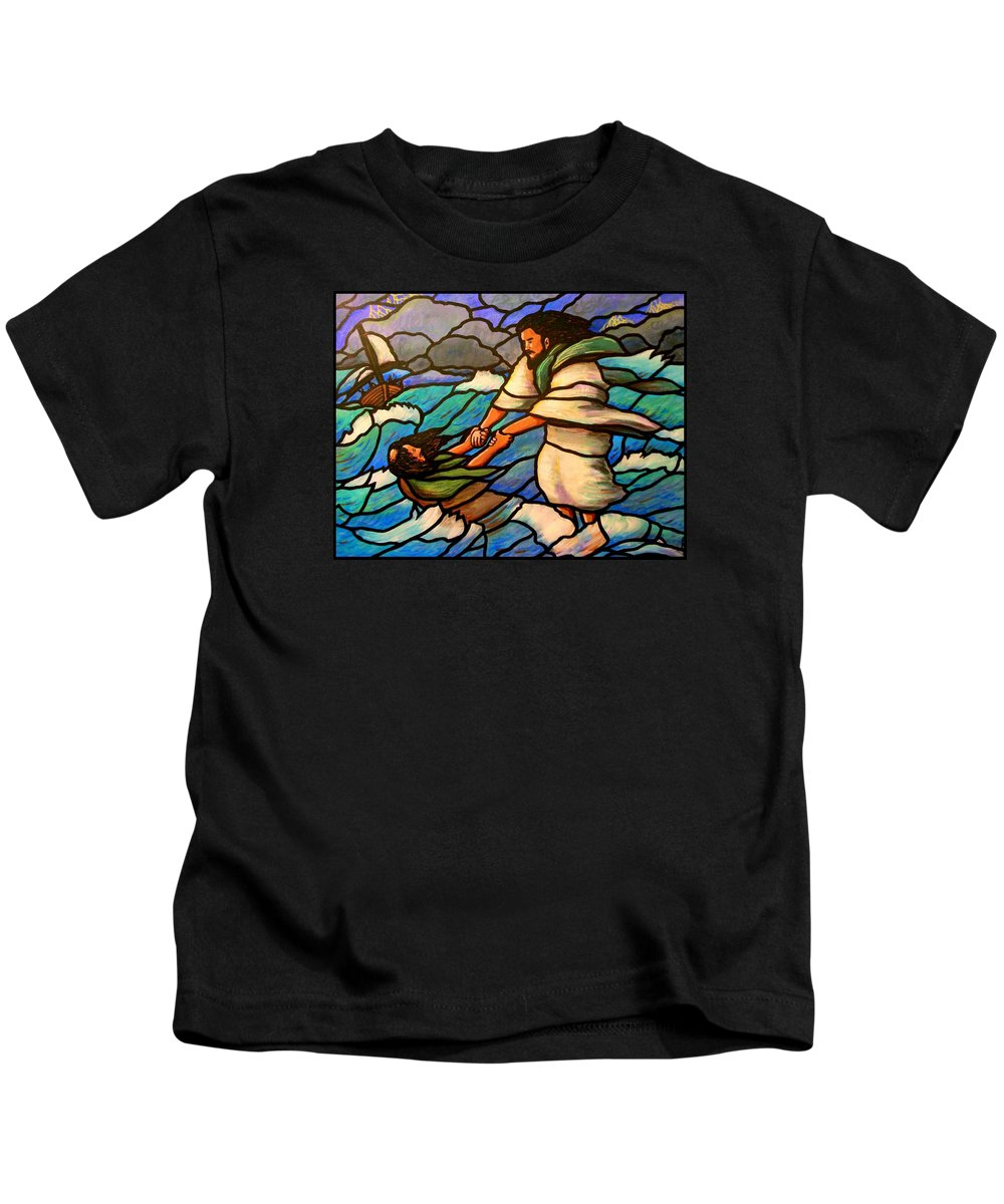 Jesus Kids T-Shirt featuring the painting The Rescue by Jim Harris