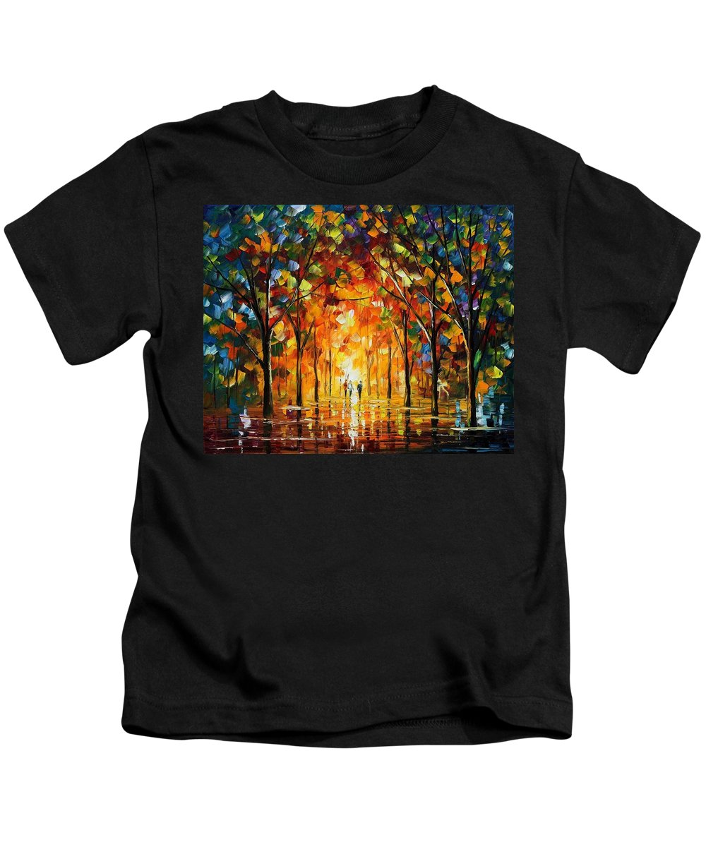 Afremov Kids T-Shirt featuring the painting The Return Of The Sun by Leonid Afremov