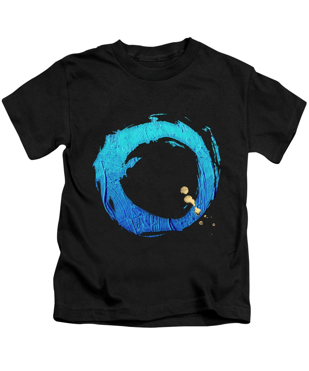 'the Rings' Collection By Serge Averbukh Kids T-Shirt featuring the digital art The Rings - Blue On Black With Splash Of Gold No. 4 by Serge Averbukh