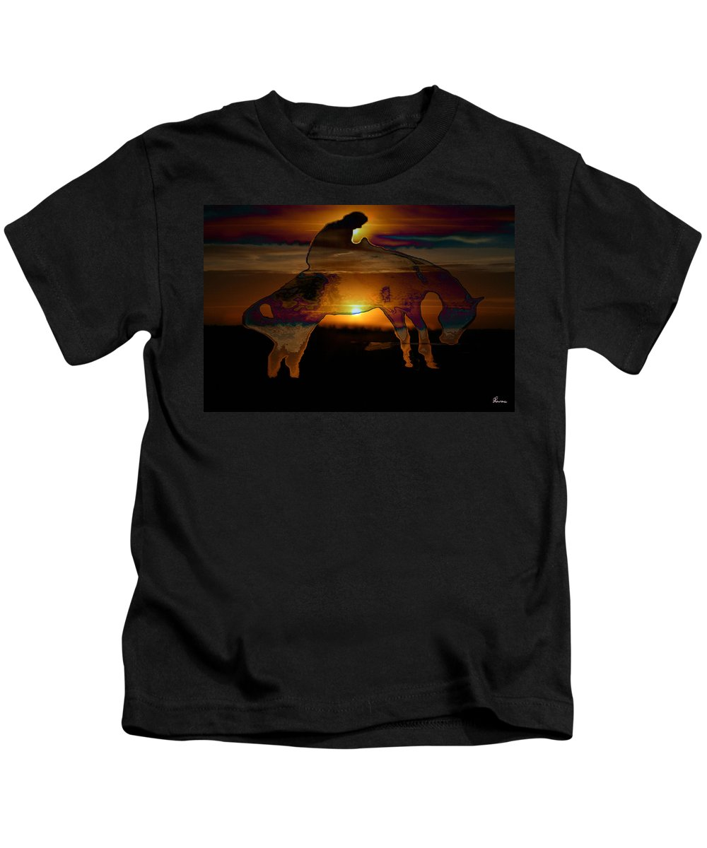 Cowboy Horse Bronc Rider Rodeo Sunrise Skyline Skyscape Sun Clouds Rider Kids T-Shirt featuring the photograph The Ripple Effect by Andrea Lawrence