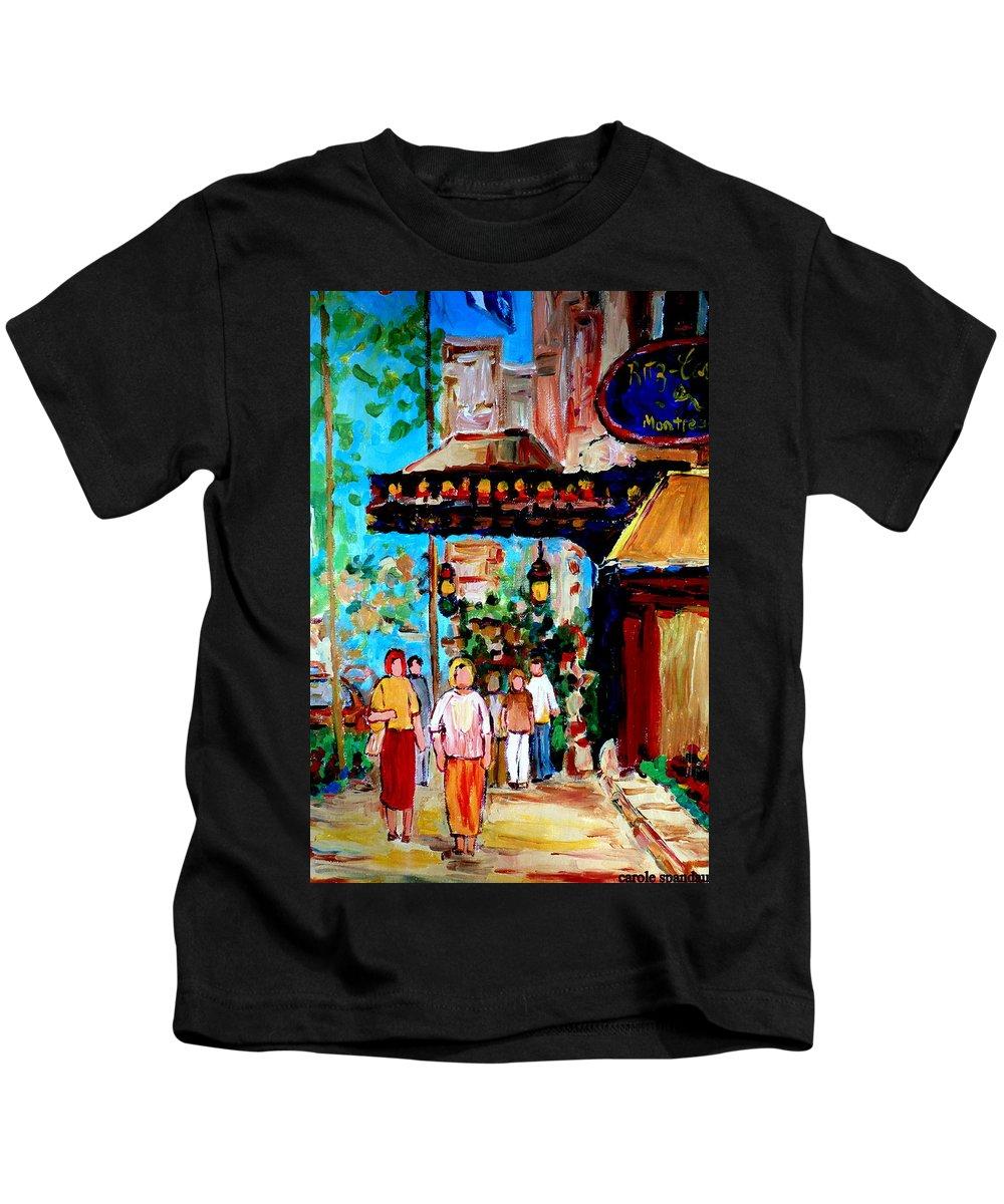 The Ritz Carlton In Spring Kids T-Shirt featuring the painting The Ritz Carlton In Spring by Carole Spandau