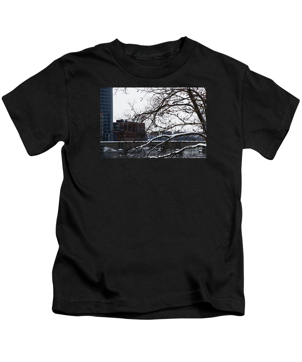Winter Kids T-Shirt featuring the photograph The River Divide by Linda Shafer
