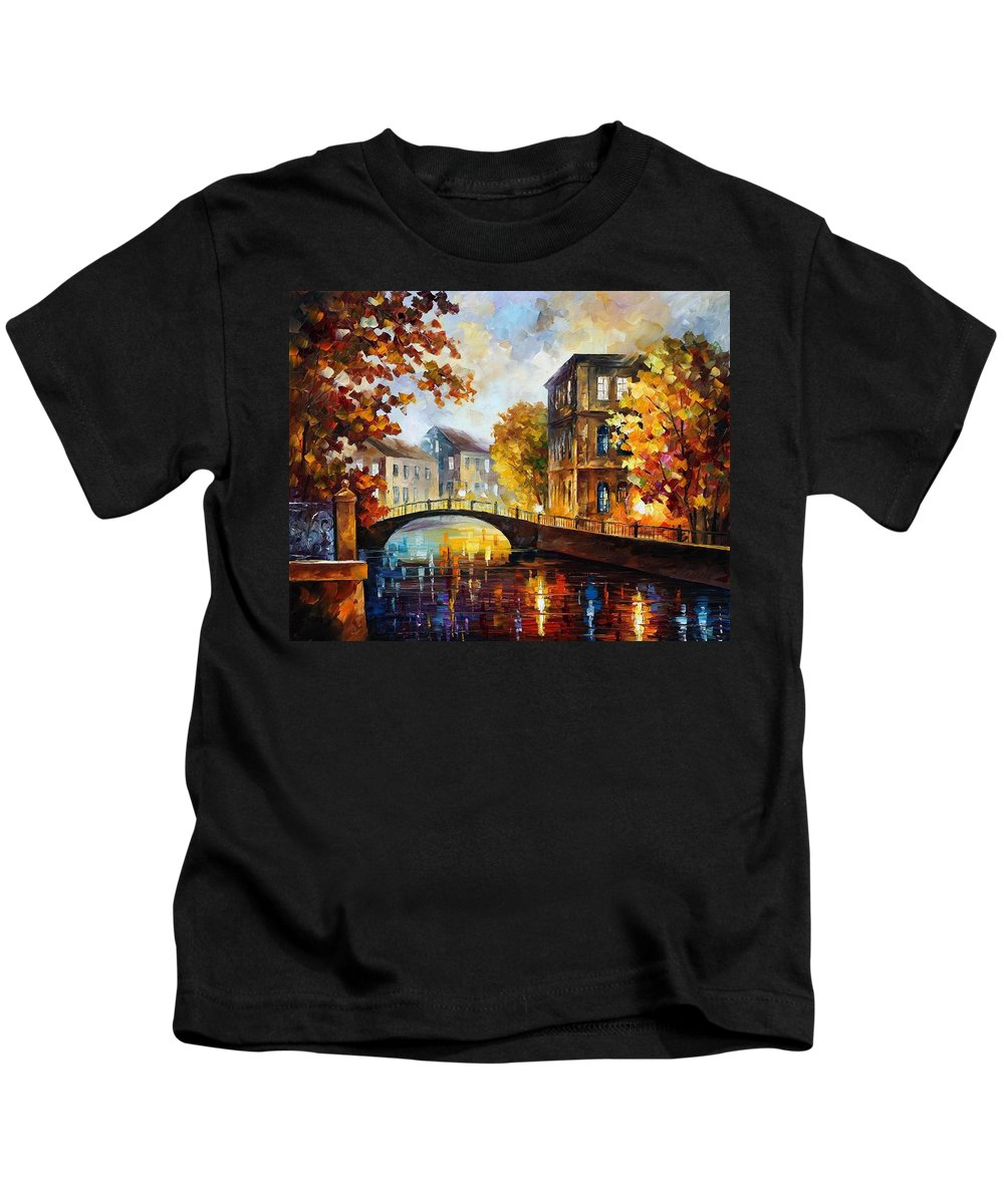 Afremov Kids T-Shirt featuring the painting The River Of Memories by Leonid Afremov