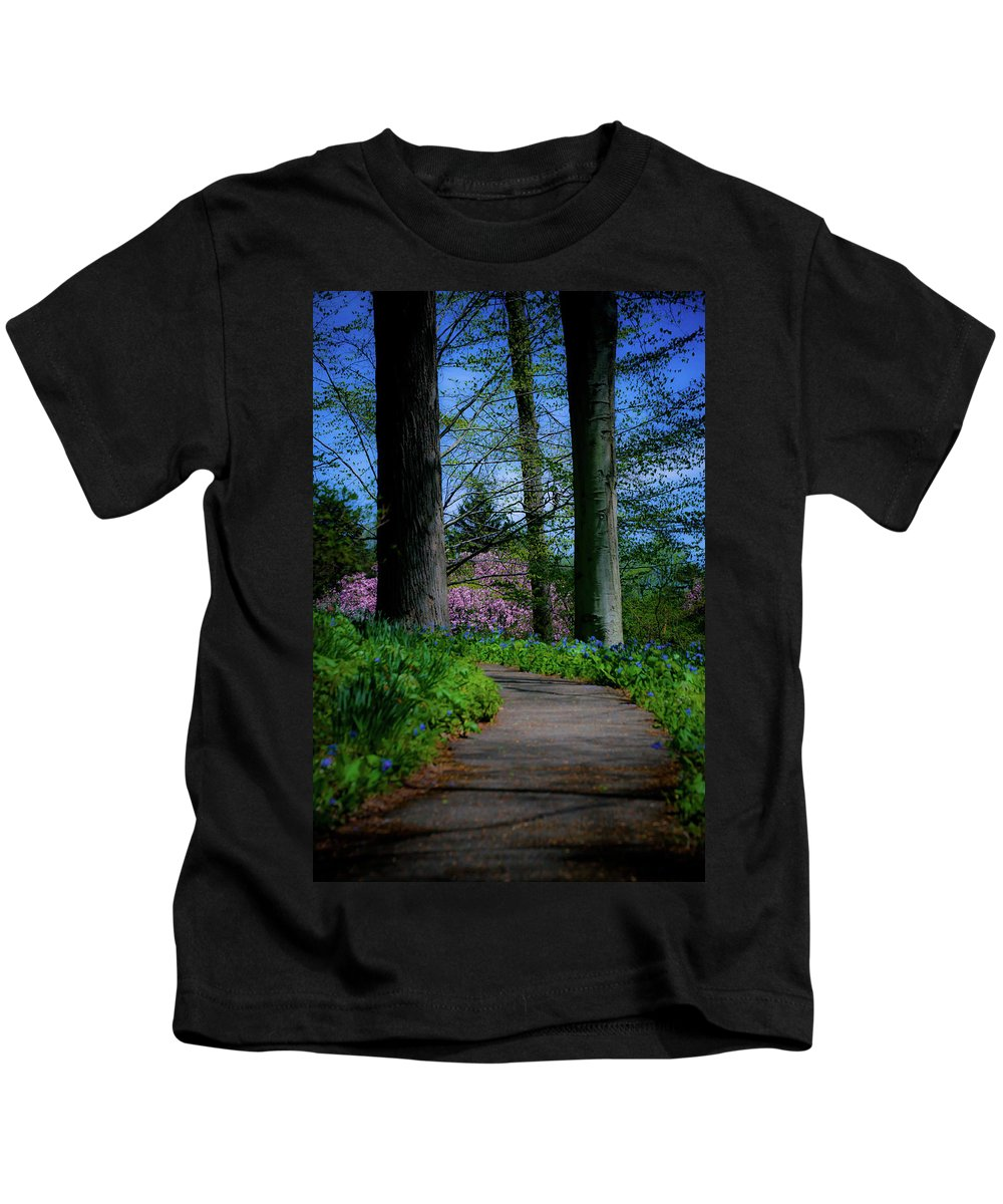 Trees Kids T-Shirt featuring the photograph The Road To Peace And Quiet by Trish Tritz